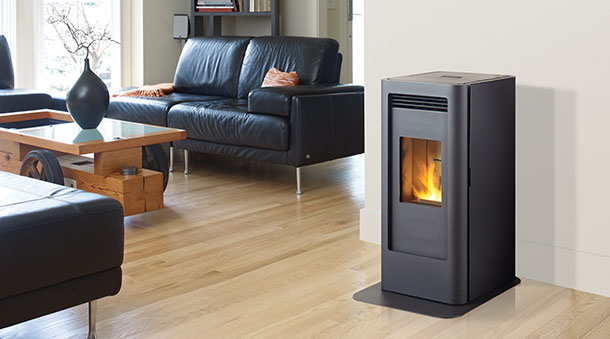 The Gf40 Small Free Standing Pellet Stove Features A Modern Compact Design That Large Multi Heat Exchanger To Your Room Evenly And